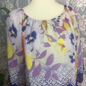 Anthropologie FEI 100% Silk Watercolor Top